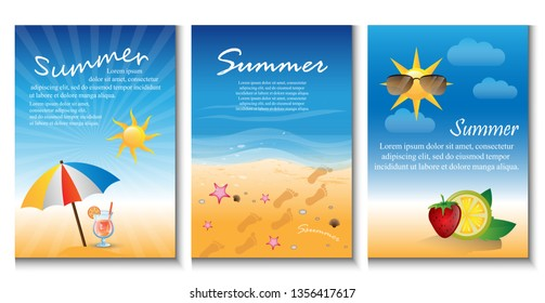 Summer Background Set - Vector Illustration, Graphic Design. Collection Of Summer Backgrounds For Placard Template, Poster, Flyer, Leaflet, Banner and Summer Party Poster