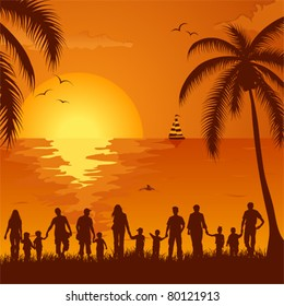 Summer background with silhouette family, palm tree, dolphin and yacht, element for design, vector illustration
