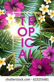 Summer Background with Sun Shining through the Leaves and Flowers of Tropical Exotic Plants. Party or Wedding Invitation, Flyer or Travel Advertising.