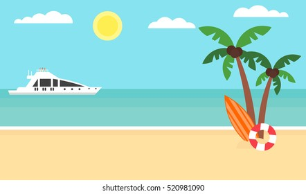 Summer background - sunset beach. Sea, yacht and a palm tree. Modern flat design. Vector illustration.