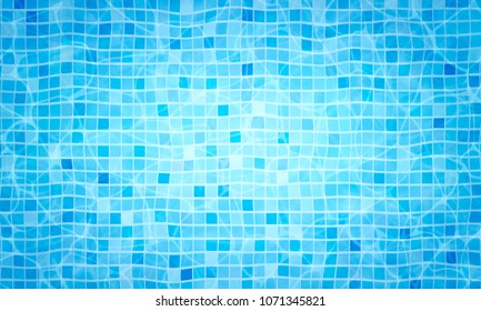 Summer background. Swimming pool bottom caustics ripple and flow with waves background. Texture of water surface. Overhead view. Vector background
