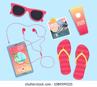 Summer background. Template with sunglasses, flip flops and sunblock. Vector illustration