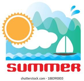 Summer Background Template. Vector illustration
