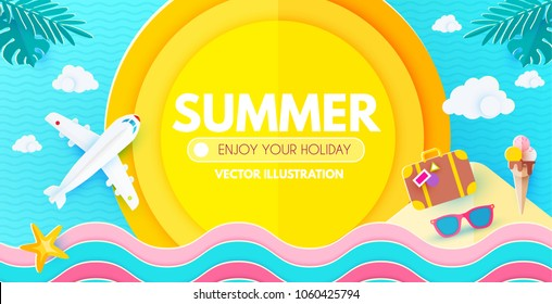 Summer Background with Travel Vacation Elements. Exotic Trip Design. Paper Art. Plane, Waves, Sun,Starfish, Palm Leaves, Plumeria Flower, Sunglasses, Ice Cream, Island,Suitcase. Vector illustration