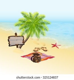 Summer background. Tropic Island, sand beach and azure sea. Vacation and travel concept. Vector, EPS 10