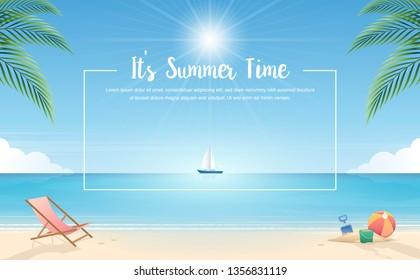 Summer background. Tropical beach with beach elements vector background. Background of the sea with the ship. Summer Concept. Vector Illustrator.