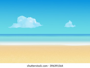 Summer background with tropical beach. Summer vacation, seashore resort, travel background. Vector illustration