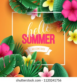 Summer background with tropical flowers and palm leaves. Vector illustration.
