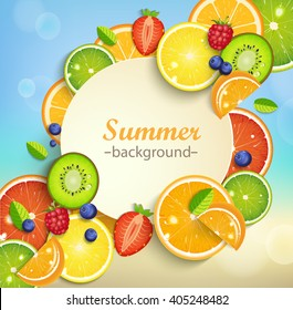 Summer background with tropical fruits and berries and round frame for the text. Vector illustration.
