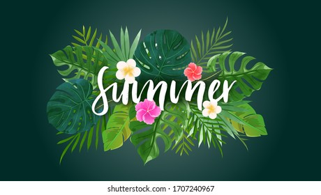 Summer background with tropical leaves and flowers in green theme.