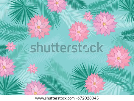 Summer background tropical leaves pink flowers stock vector royalty summer background with tropical leaves and pink flowers floral elements for your design vector mightylinksfo