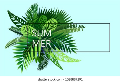 summer background of tropical leaves in style cut paper