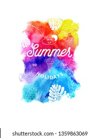 Summer background with tropical leaves and watercolor vector backdrop frame
