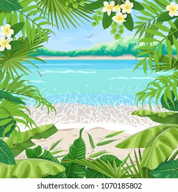Summer background with tropical plants. Square floral frame on seaside landscape. Tropic foliage border on seascape  beach, waves, pebble, sand, birds and distant trees. Vector flat illustration.