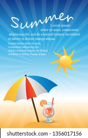 Summer Background - Vector Illustration, Graphic Design. Summer Background For Placard Template, Poster, Flyer, Leaflet, Banner and Summer Party Poster