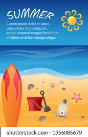Summer Background - Vector Illustration, Graphic Design. Summer Background For Placard Template, Beach Poster, Flyer, Leaflet, Banner and Summer Party Poster
