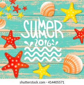 Summer background  vintage poster with  illustration of Colorful Starfish,Scallop seashell.Summer time wallpaper.