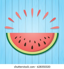 Summer background with watermelon and copyspace. Vector.
