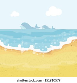 Summer background with whales