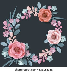 Summer background with a wreath of abstract paper flowers, floral background, blank round frame, greeting card template.Template Vector.