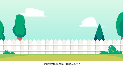 Summer backyard background or banner with long fence and grass lawn, flat vector illustration. Backdrop or layout template for summer outdoor or open air yard party.