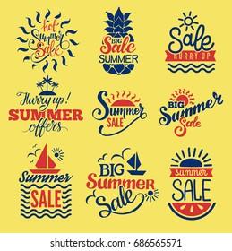 Summer badge logo seasonal sale hot offer shop vector.
