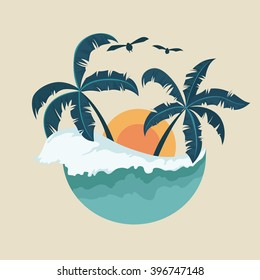 Summer Badge With Wave Palm Tree and Sunset
