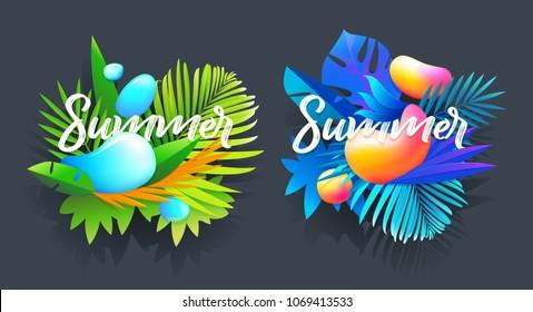 Summer badges design art. Vintage logo, emblems,object. Isolated vector elements.