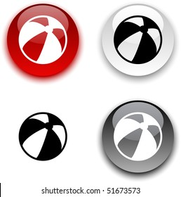 Summer balloon glossy round vector buttons.