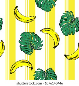 Summer banana and plam leves on resort stripe  seamless pattern ,vector fot fashion fabric and all prints wallpaper ,book cover,on vivid yellow line color.