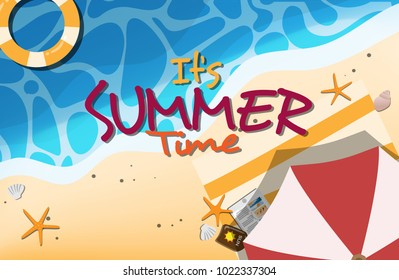 It's Summer banner with beach towel, lifering, and tablet on the beach near sea for tropical summer holiday vacation wallpaper or billboard or summer sale banner