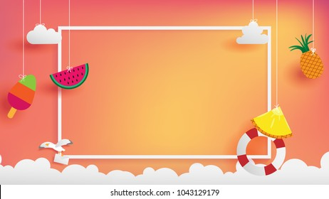 summer banner frame as horizontal contain white border ,sunset light shining on background and all objects floating over cloud, objects are hanging by string such as ice creme, pineapple  watermelon