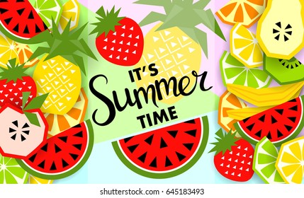 Summer banner with fruit, place for text. Trendy seasonal vector background, brochure template.