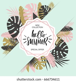 Summer banner with paper tropical leaf. Vector illustration