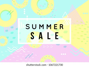 Summer banner. Punchy pastel. minimalism style. Trendy texture. Season vocation, weekend, holiday logo. Summer vector . Fashionable styling.