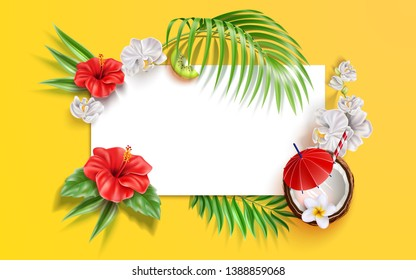 Summer banner with realistic tropical flowers, leaves and fruits. Vector hibiscus, white orchid and coconut cocktails on yellow frame background. Holiday party, summer vacation design.