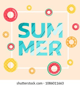 """Summer banner sale. Top view blue sea paper waves with fruit rubber ring and text """" SUMMER"""". Seasonal design advertising paper cut style. Vector Illustration."""