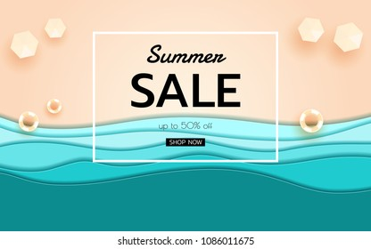 Summer banner sale. Top view blue sea and beach paper waves with umbrella beach and rubber ring. Seasonal design advertising paper cut style. Vector Illustration.