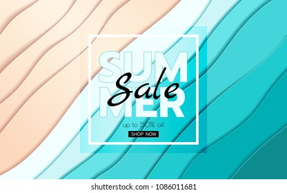 Summer banner sale. Top view blue sea and beach paper waves. Seasonal design advertising paper cut style. Vector Illustration.