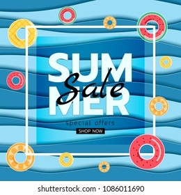 Summer banner sale. Top view blue sea paper waves with fruit rubber ring. Seasonal design advertising paper cut style. Vector Illustration.