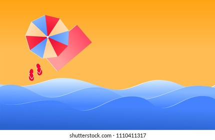 Summer Banner Vector Background, beach with waves and sun umbrella
