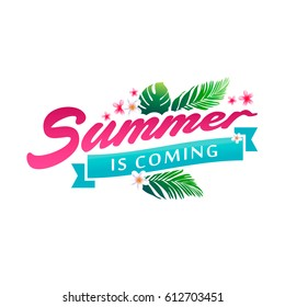 Summer banner vector illustration. Eps 10 vector. Tropical paradise, sea, sunshine, weekend tour, beach vacation, label. Illustration for summer holiday, travel agency, restaurant and bar, menu, party