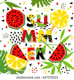 Summer banner with watermelon and lemon, place for text. Trendy seasonal vector background, brochure template.