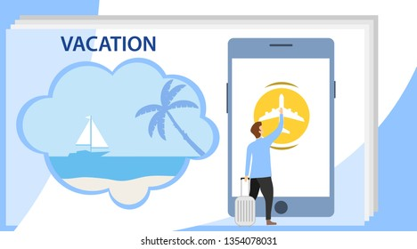 Summer banners concept. Vacation on the beach. A man presses a button on a smartphone for a beach holiday.