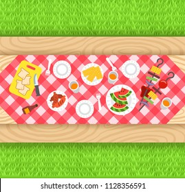 Summer barbecue picnic background. Vector flat illustration. Outdoor party banner. Grilled sausages, corn, watermelon, vegetables on skewers. BBQ food in plastic plates on wooden table with tablecloth