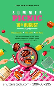 Summer barbecue picnic, vector poster, banner layout. Top view BBQ grill with steak, fish and human hands with forks and food. Outdoors weekend and holiday background.