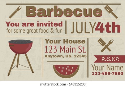 Summer barbecue vector background invitation