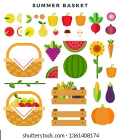 Summer basket with fresh fruits and vegetables. Healthy eating concept. Fruits, vegetables, sunflower, baskets, boxes, isolated on white background. Fresh summer harvest concept. Vector illustration.