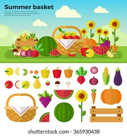 Summer basket vector flat illustrations. Basket with fresh fruits and vetables on the summer meadow. Healthy eating concept. Fruits, vegetables, sunflower isolated on white background