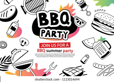 Summer BBQ party in doodles symbol and objects icon for background. Barbecue invitation poster with hand drawn style. Use for labels, stickers, badges, poster, flyer, banner, illustration design.